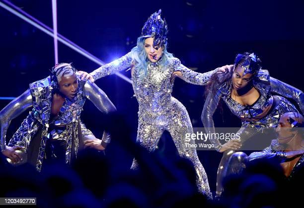 Lady Gaga performs onstage during ATT TV Super Saturday Night at Meridian at Island Gardens on February 01 2020 in Miami Florida