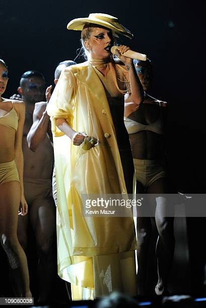 Lady Gaga performs onstage during The 53rd Annual GRAMMY Awards held at Staples Center on February 13 2011 in Los Angeles California