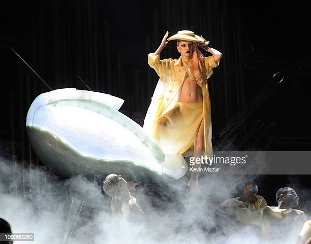 Lady Gaga performs onstage during The 53rd Annual GRAMMY Awards held at Staples Center on February 13, 2011 in Los Angeles, California.