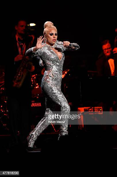 Lady Gaga performs onstage during the 'Cheek to Cheek' tour at Radio City Music Hall on June 19 2015 in New York City