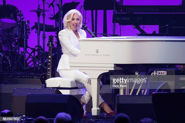 Lady Gaga performs onstage during the 'Deep from the Heart The One America Appeal Concert' at Reed Arena on the campus of Texas AM University on...