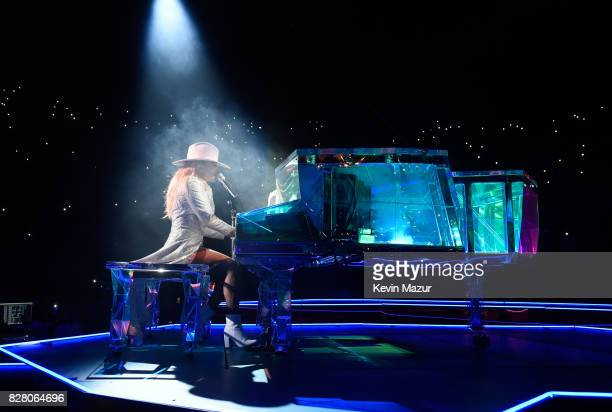 Lady Gaga performs onstage during the 'Joanne' World Tour at The Forum on August 8 2017 in Inglewood California