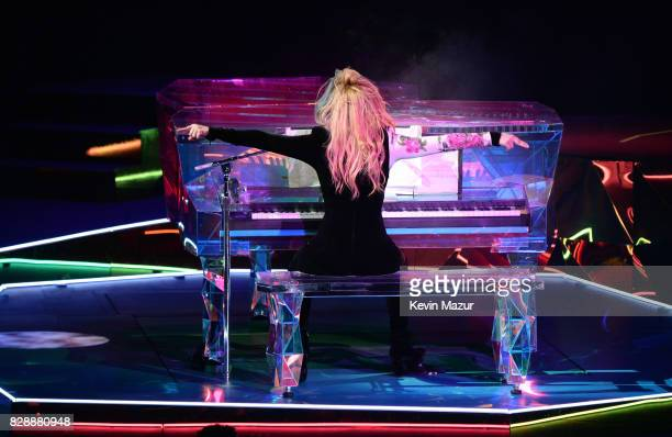 Lady Gaga performs onstage during the 'Joanne' World Tour at The Forum on August 9 2017 in Inglewood California