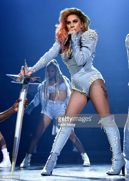 Lady Gaga performs onstage during the Joanne World Tour at The Forum on August 9 2017 in Inglewood California