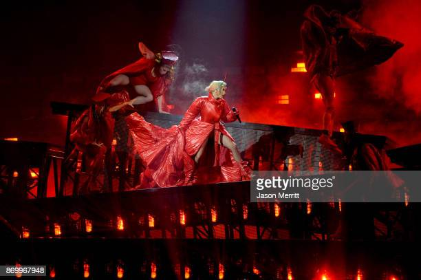 Lady Gaga performs onstage during the Lady Gaga 'Joanne' World Tour at Bell Centre on November 3 2017 in Montreal Canada