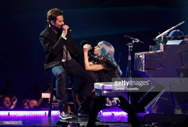 Lady Gaga performs Shallow with actor/director Bradley Cooper during her ENIGMA residency at Park Theater at Park MGM on January 26 2019 in Las Vegas...