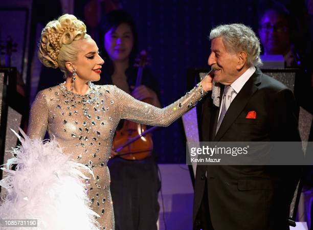Lady Gaga performs with Tony Bennett during her 'JAZZ PIANO' residency at Park Theater at Park MGM on January 20 2019 in Las Vegas Nevada