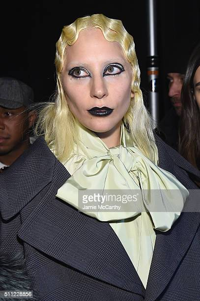 Lady Gaga poses backstage at Marc Jacobs Fall 2016 fashion show during new York Fashion Week at Park Avenue Armory on February 18 2016 in New York...