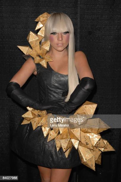 Lady Gaga poses backstage at the Y 100 Jingle Ball held at Bank Atlantic Center on December 13 2008 in Sunrise Florida