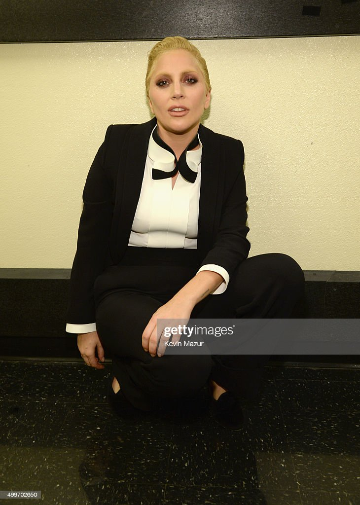 Lady Gaga poses backstage during 'Sinatra 100: An All-Star GRAMMY Concert' celebrating the late Frank Sinatra's 100th birthday at the Encore Theater at Wynn Las Vegas on December 2, 2015 in Las Vegas, Nevada. The show will air on CBS on December 6.
