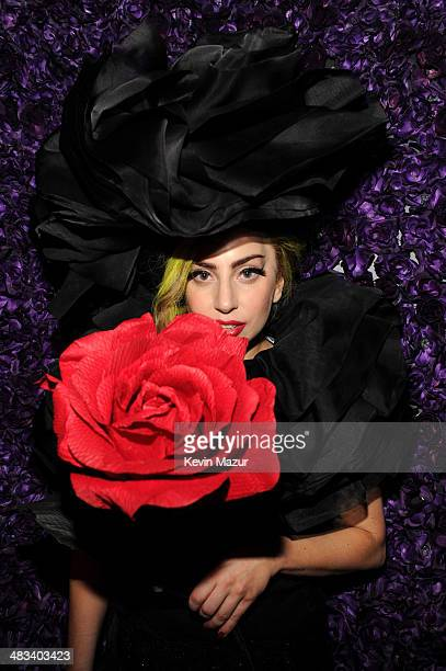 Lady Gaga poses backstage following her show at Roseland Ballroom on April 7 2014 in New York City