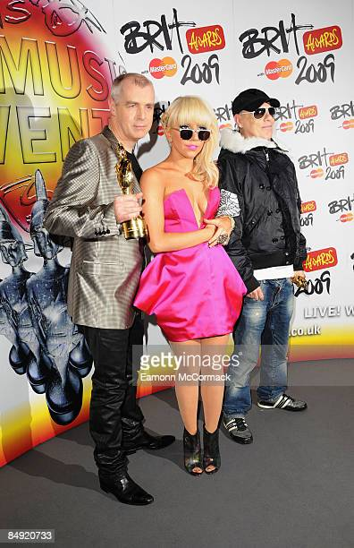 Lady GaGa poses backstage with Outstanding Contribution To Music awards winners Neil Tennant and Chris Lowe of the Pet Shop Boys at the Brit Awards...