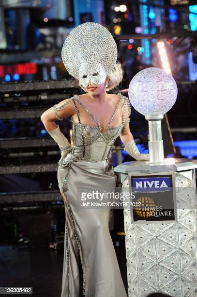Lady Gaga poses during Dick Clark's New Year's Rockin' Eve with Ryan Seacrest 2012 at Times Square on December 31 2011 in New York City