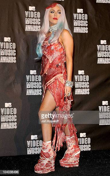 Lady Gaga poses in the press room at the 2010 MTV Video Music Awards at Nokia Theatre LA Live on September 12 2010 in Los Angeles California