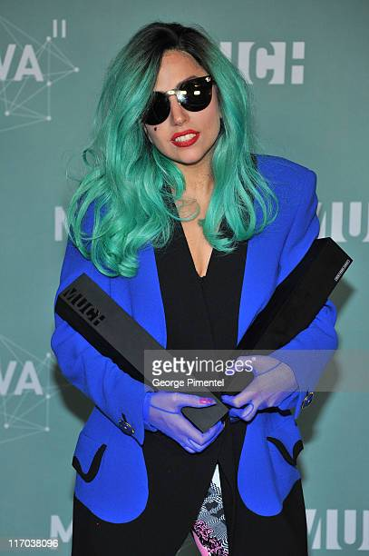 Lady Gaga poses in the press room at the 22nd Annual MuchMusic Video Awards at the MuchMusic HQ on June 19, 2011 in Toronto, Canada.