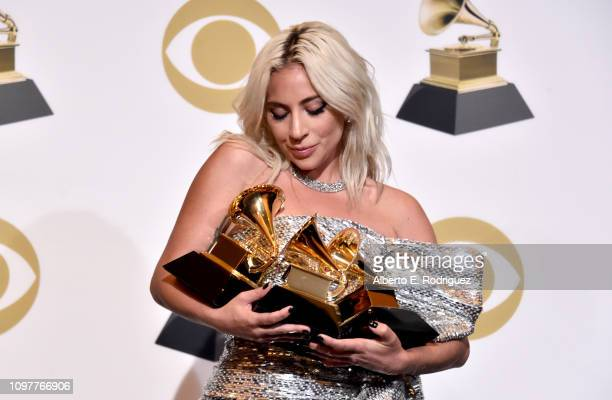 Lady Gaga poses in the press room during the 61st Annual GRAMMY Awards at Staples Center on February 10 2019 in Los Angeles California