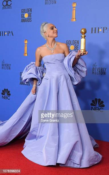 Lady Gaga poses in the press room during the 76th Annual Golden Globe Awards at The Beverly Hilton Hotel on January 6, 2019 in Beverly Hills,...