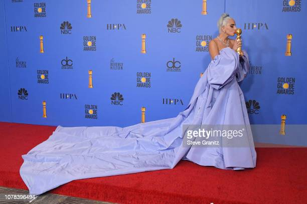 Lady Gaga poses in the press room during the 76th Annual Golden Globe Awards at The Beverly Hilton Hotel on January 6 2019 in Beverly Hills California