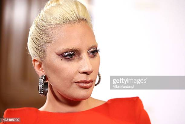 Lady Gaga poses in the Winners Room at the British Fashion Awards 2015 at London Coliseum on November 23 2015 in London England