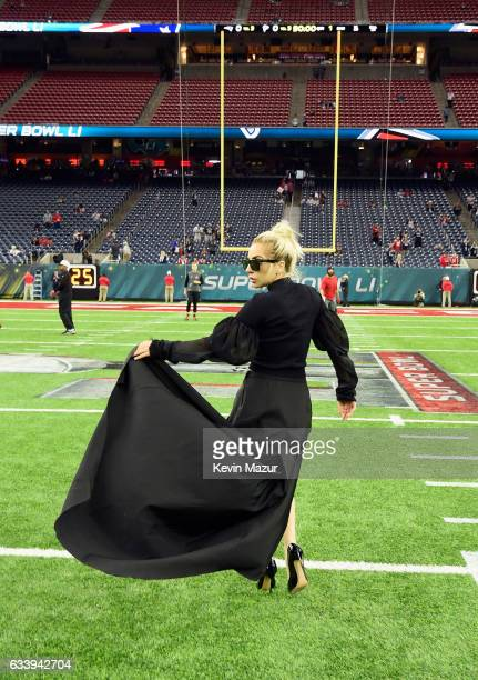 Lady Gaga poses on the field before Super Bowl LI at NRG Stadium on February 5, 2017 in Houston, Texas.