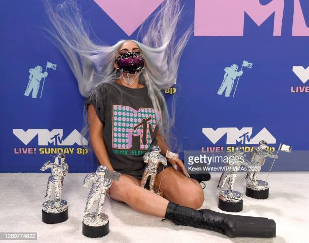 Lady Gaga poses with her awards during the 2020 MTV Video Music Awards broadcast on Sunday August 30th 2020