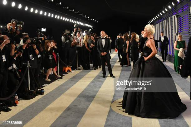Lady Gaga poses with the Academy Award for Best Original Song during the 2019 Vanity Fair Oscar Party hosted by Radhika Jones at Wallis Annenberg...