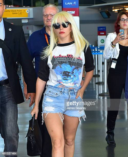 Lady Gaga seen arriving to John F Kennedy International Airport on October 6 2015 in New York City