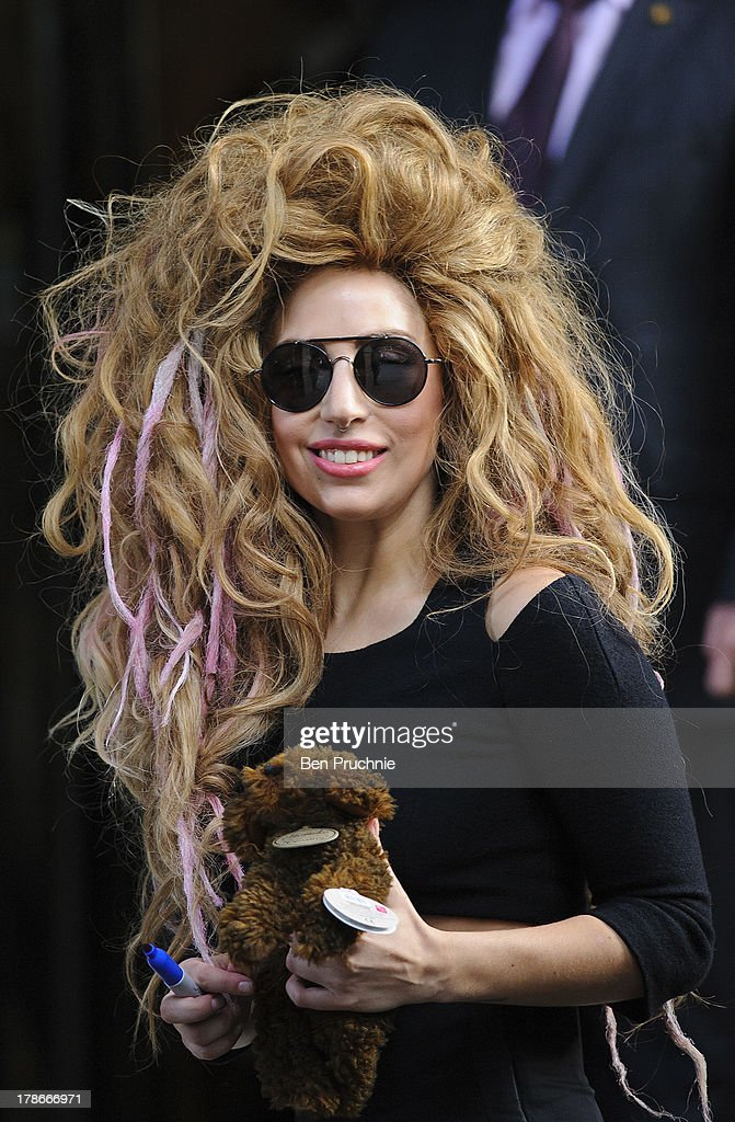 Lady Gaga sighted departing her hotel on August 30, 2013 in London, England.