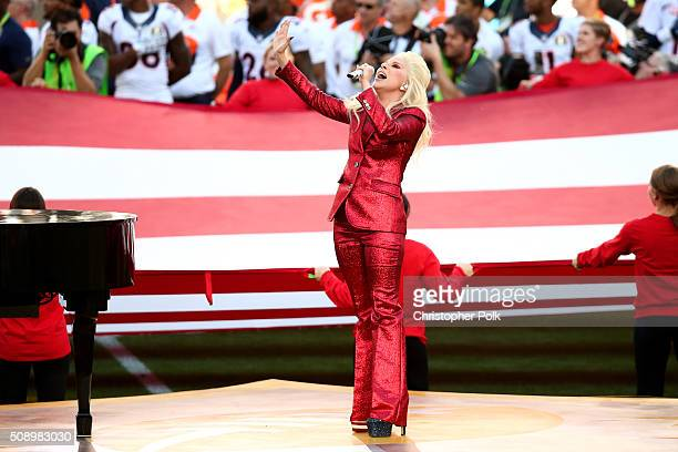 Lady Gaga sings the National Anthem at Super Bowl 50 at Levi's Stadium on February 7 2016 in Santa Clara California