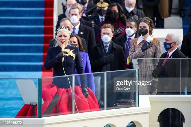 Lady Gaga sings the National Anthem at the inauguration of U.S. President-elect Joe Biden on the West Front of the U.S. Capitol on January 20, 2021...