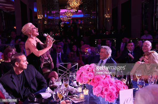 Lady Gaga sings to Tony Bennett as they celebrate his 90th birthday at The Rainbow Room on August 3 2016 in New York City