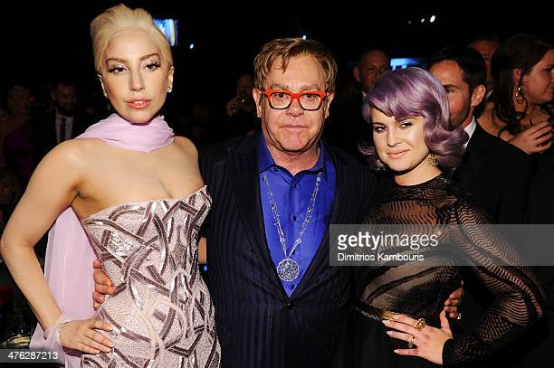 Lady Gaga, Sir Elton John and Kelly Osbourne attend the 22nd Annual Elton John AIDS Foundation Academy Awards Viewing Party at The City of West...