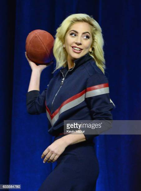 Lady Gaga speaks onstage at the Pepsi Zero Sugar Super Bowl LI Halftime Show Press Conference on February 2 2017 in Houston Texas
