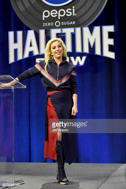 Lady Gaga speaks onstage at the Pepsi Zero Sugar Super Bowl LI Halftime Show Press Conference on February 2, 2017 in Houston, Texas.