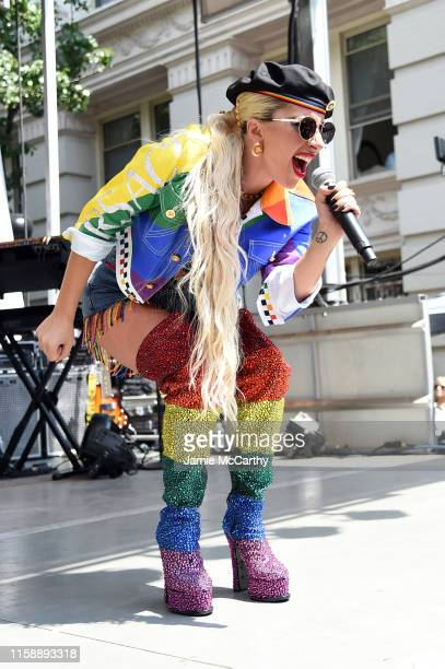Lady Gaga speaks onstage during Pride Live's 2019 Stonewall Day on June 28, 2019 in New York City.