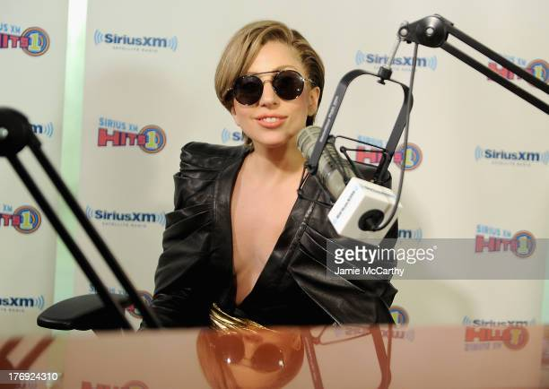 """Lady Gaga talks with """"The Morning Mash Up"""" Live on SiriusXM Hits 1 at SiriusXM Studio on August 19, 2013 in New York City."""