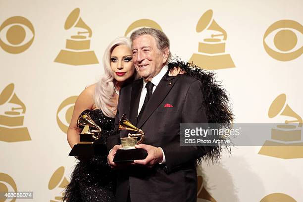Lady Gaga Tony Bennett backstage during The 57th Annual Grammy Awards Sunday Feb 8 2015 at STAPLES Center in Los Angeles and broadcast on the CBS...