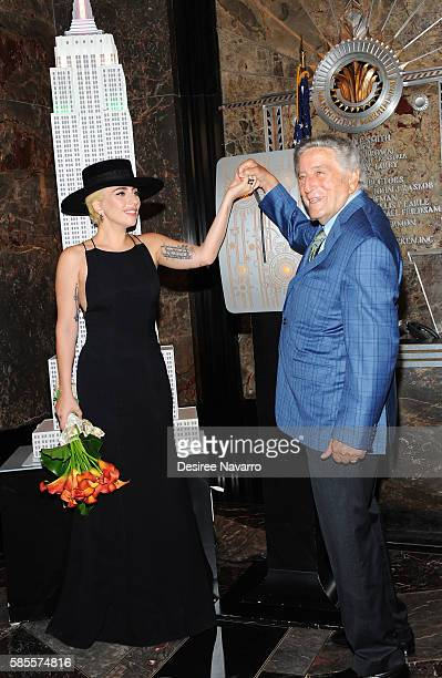 Lady Gaga Tony Bennett Light The Empire State Building In Honor of Bennett's 90th Birthday at The Empire State Building on August 3 2016 in New York...