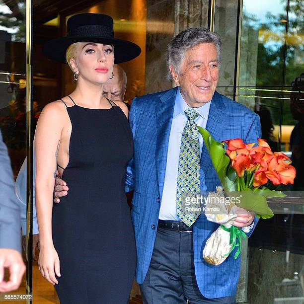 Lady Gaga Tony Bennett seen out in Midtown on August 3 2016 in New York City