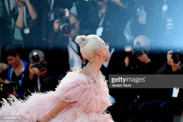 Lady Gaga walks the red carpet ahead of the 'A Star Is Born Red' screening during the 75th Venice Film Festival at Sala Grande on August 31 2018 in...