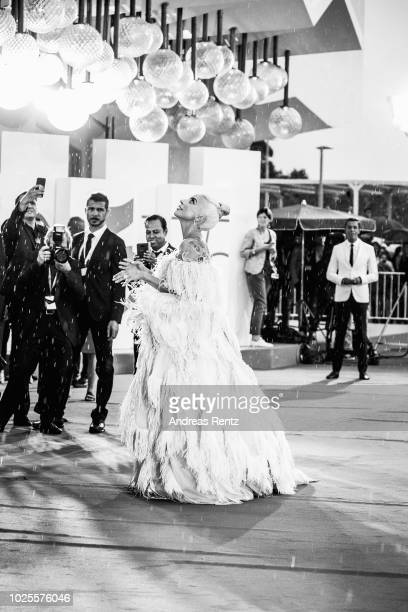 Lady Gaga walks the red carpet ahead of the 'A Star Is Born' screening during the 75th Venice Film Festival at Sala Grande on August 31 2018 in...
