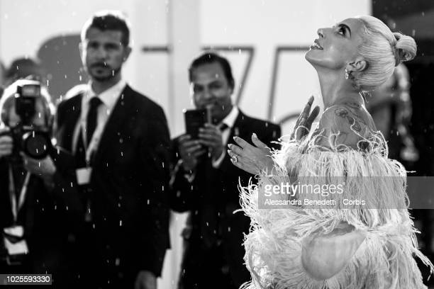 Lady Gaga walks the red carpet ahead of the 'A Star Is Born' screening during the 75th Venice Film Festival at Sala Grande on August 31, 2018 in...