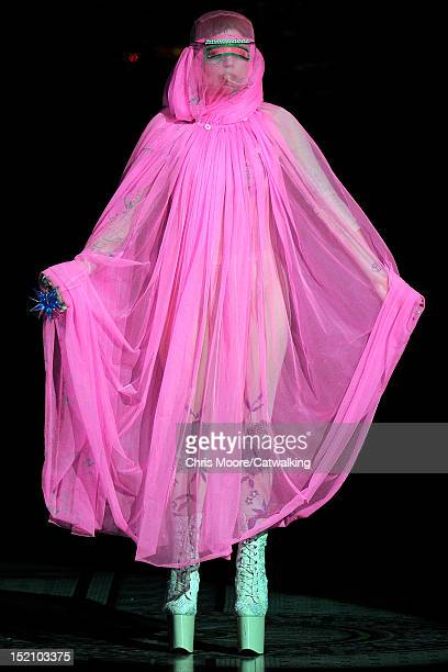Lady Gaga walks the runway at the Philip Treacy Spring Summer 2013 fashion show during London Fashion Week on September 16, 2012 in London, United...