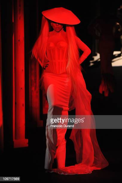 Lady Gaga walks the runway during the Thierry Mugler Ready to Wear Autumn/Winter 2011/2012 show during Paris Fashion Week at Gymnase Japy on March 2...
