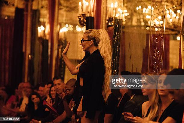 Lady Gaga waves to a friend at Brandon Maxwell's SS17 runway show at the Russian Tea House on September 13 during New York Fashion Week
