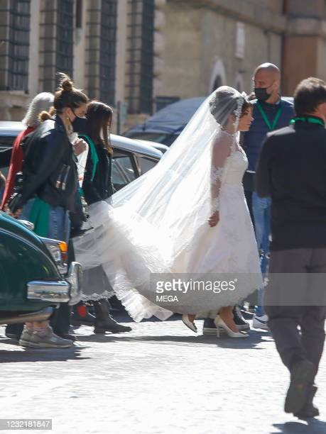 """Lady Gaga wearing a wedding dress on the set of """"House of Gucci"""" on April 8, 2021 in Rome, Italy."""