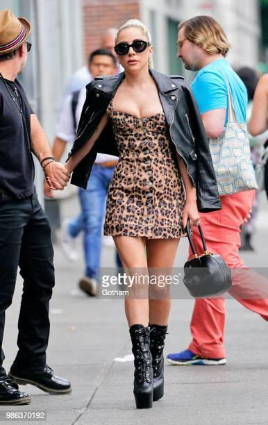 Lady Gaga wears leopard print on June 28 2018 in New York City