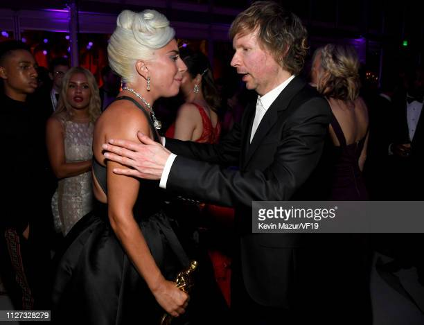 Lady Gaga winner Best Music award for 'Shallow' from 'A Star Is Born' and Beck attend the 2019 Vanity Fair Oscar Party hosted by Radhika Jones at...