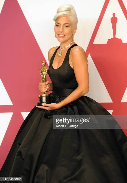 Lady Gaga winner Best Music award for 'Shallow' from 'A Star Is Born' poses in the press room during at Hollywood and Highland on February 24 2019 in...