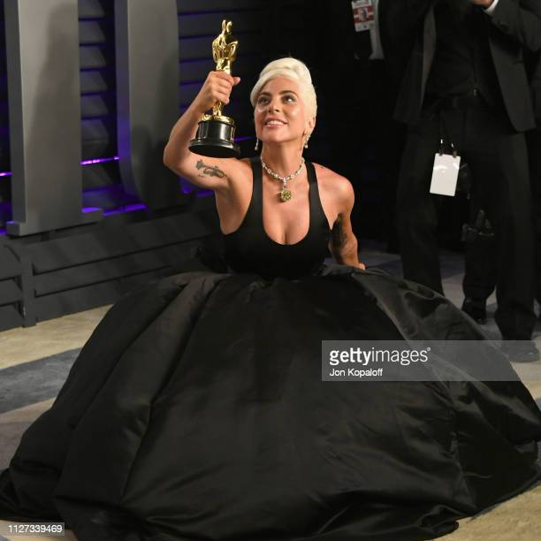 Lady Gaga winner of Best Music attends the 2019 Vanity Fair Oscar Party hosted by Radhika Jones at Wallis Annenberg Center for the Performing Arts on...